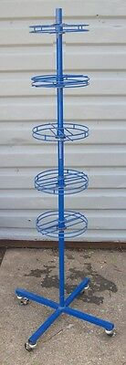 "Store Display Fixtures ROLLING SPINNER RACK 5 LEVELS 63"" tall"