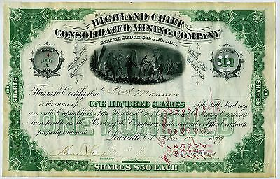 Stock Certificate -  Highland  Chief Mining Co. – Leadville Col. 1879