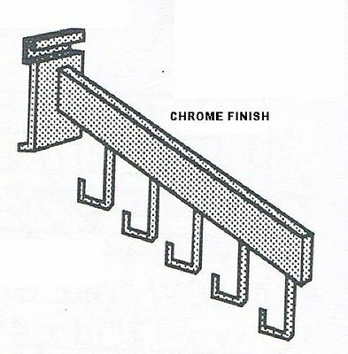 """Store Display Fixtures NEW 16"""" CHROME GRID WIRE WATERFALL 5 HOOK FACEOUT"""