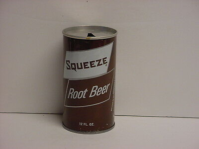 Vintage Squeeze Root Beer Straight Steel Soda Can Pull Tab Top Opened