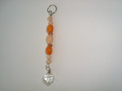Custom made Name on Rice Key ring key chain and crystal tear vial orange beads
