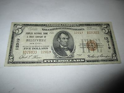 $5 1929 Belleville New Jersey NJ National Currency Bank Note Bill Ch #12019 Fine