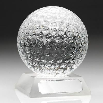 "3"" Glass Golf Ball Trophy Award with FREE Engraving"