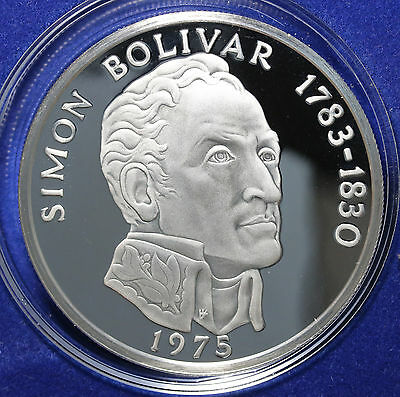 1975 Panama 20 Balboas Sterling Silver 3.8 Oz FDC Proof Simon Bolivar RARE
