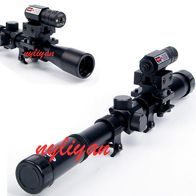 3 in 1 4x20 Air Gun Rifle Scope+Red Dot Laser Sight+Adapter Mounts Set for Rifle