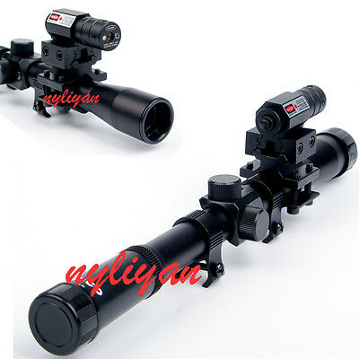4x20 Air Gun Rifle Scope+ Red Dot Laser Sight+Adapter Mounts Sports Hunting Set