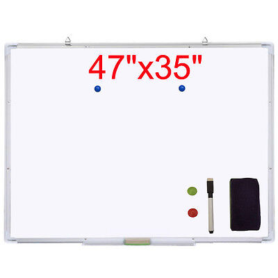 "47""x35"" Single Side Magnetic Writing Whiteboard Office Meeting Dry Erase w/Board"