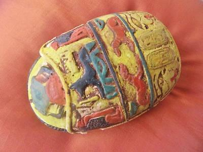 RARE LARGE Antique Egyptian Amulet Ancient Wing Beetle Scarab Collection..UNIQUE
