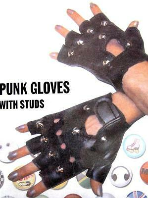 Black PVC Metal Studded Punk Wrist Gloves Halloween Costume Party Accessory NEW