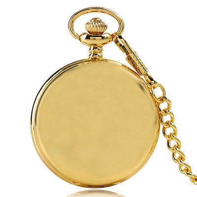 Retro Luxury Gold Glossy Smooth Case Mens Pocket Watch Fob Pendant Chain Gift