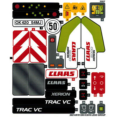 Lego Technic 42054 Claas Xerion 5000 Trac VC Sticker Sheet Transfers - NEW