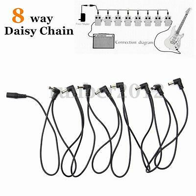 8 Way Daisy Chain Cable Guitar Effect Pedal Power Supply Splitter Adapter 2.8m