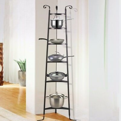 Pot Pan Organizer Rack 6 Shelf Cookware Holder Cabinet Kitchen Storage  Standing