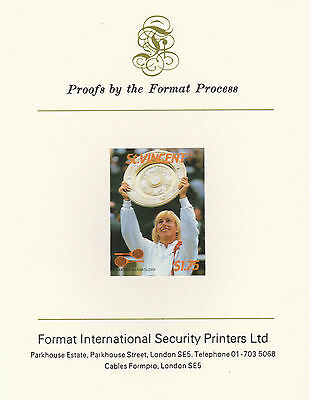 St Vincent 2408 - 1987 TENNIS $1.75 imperf on Format International PROOF  CARD