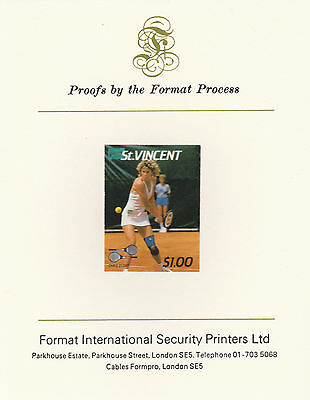 St Vincent 2409 - 1987 TENNIS $1 imperf on Format International PROOF  CARD