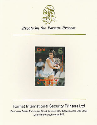 St Vincent Grenadines 2416 - 1987 TENNIS $2 imperf on Format Int PROOF  CARD