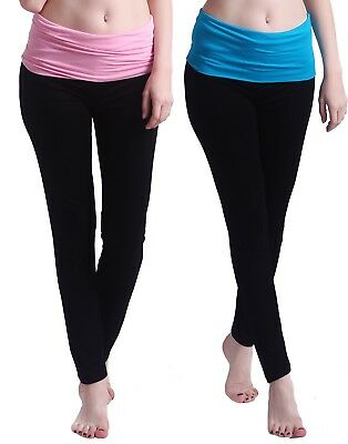 Women's Maternity Yoga Pants Fit & Flare Foldover Pregnancy Leggings 2-Pack