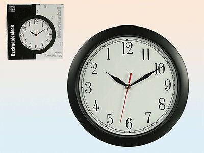 Novelty Backwards Wall Clock Reverse With Correct Time 29cm Fun Quirky NEW
