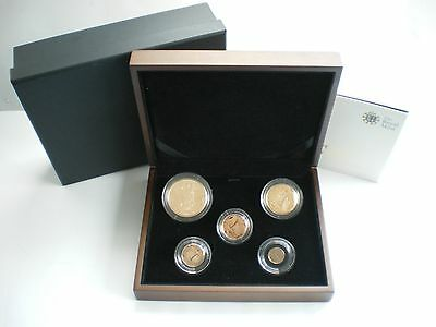 Rare 2012 Royal Mint Diamond Jubilee Uk 5 Five Coin Gold Proof Sovereign Set