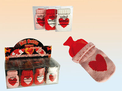 Mini Hand Warmer Gel Pack with Knitted Heart Cover 14cm Winter Warmer Gift NEW