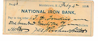 1882  National Iron Bank, Morristown, New Jersey    W/revenue