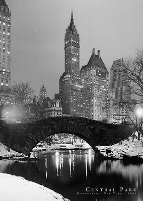 """New York City photography poster 24x36"""" Central Park Bridge Black and White"""