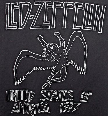 Led-Zeppelin Mens Black T-Shirt L United States of America 1977 Size Large