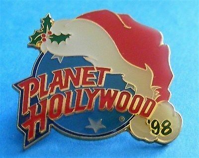 Planet Hollywood CHRISTMAS 1998 Santa Hat over Classic Globe Lapel Pin w/Pouch