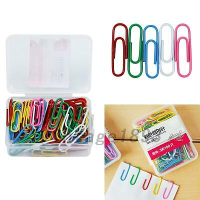 1 Set 100Pcs 28mm Colorful Paper Clips & Pins Vinyl Coated Office Accessories