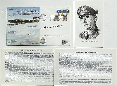 General Ira Eacker Signed Flown Commemorative Cover U.S Eight Air Force WW II