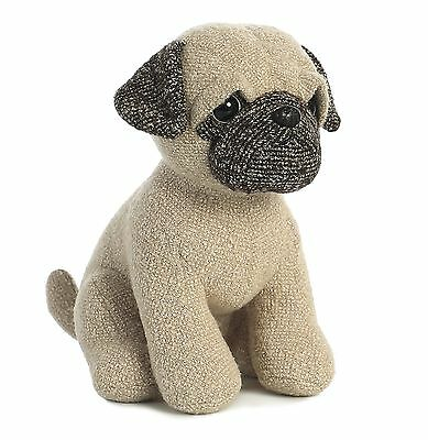 "New AURORA FABBIES Stuffed Plush Toy PUG Fabric Puppy Dog Soft Animal 10.5"" TAN"