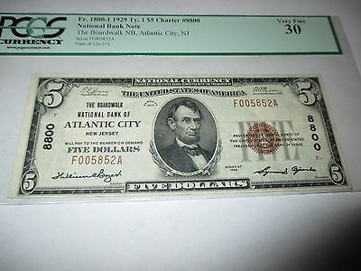 $5 1929 Atlantic City New Jersey NJ National Currency Bank Note Bill #8800 VF30!