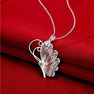 Exquisite Fashion Silver Plated Butterfly Necklace Pendant+Chain Jewelry Gift