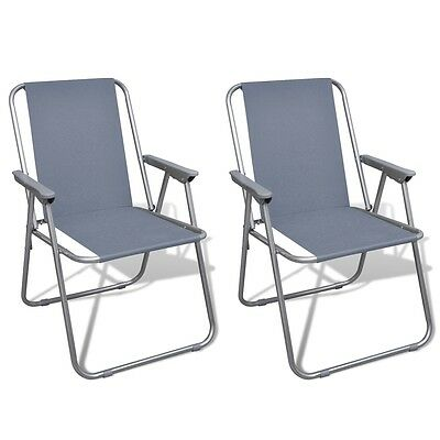 Outdoor 2pc Grey Portable Fishing Chair Camping Seat Folding Hiking Stool Travel