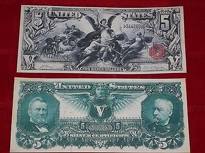 "Beautiful 1896 $5 ""education"" Silver Certificate Copy Please Read Description"