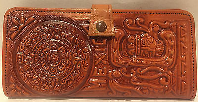 Hand Tooled Leather Wallet From Mexico GREAT Condition