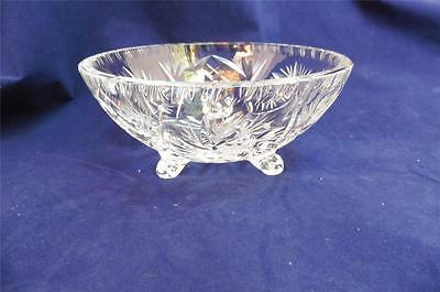 Beautiful Vintage Cut Glass Star Pinwheel Footed or Toed Small Bowl
