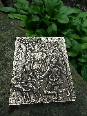 Vintage german SAINT HUBERTUS Bronze Plaque - Saint Hubert - Deer Hunter Hunting