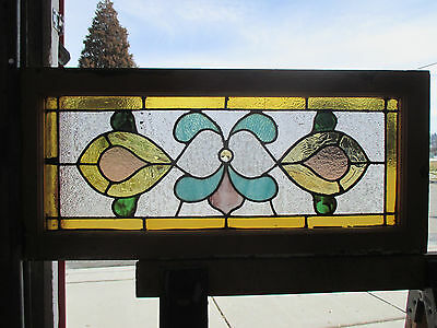 Antique American Stained Glass Transom Window 33 X 15 Architectural Salvage