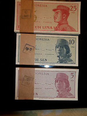 Indonesia, 25 Sen,10 Sen,5 Sen, 3 Bundles,100 Notes Each Bundle
