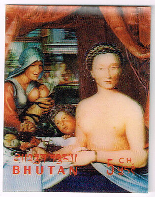 Bhutan Art Famous Painting Nude 3D MLH 1984 stamp