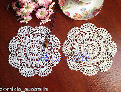Pure Cotton Yarn Hand Crochet Lace Doily Placemat Round 18CM White/Ecru FP05