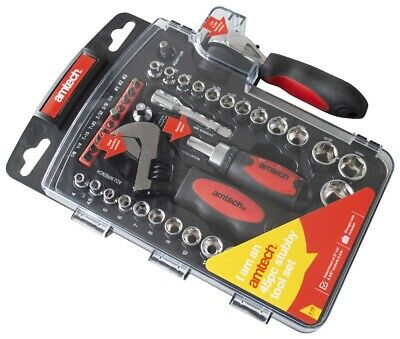 45Pc Am-Tech Stubby Tool Set Wrench Ratchet Sockets Adapters Screwdriver Bits