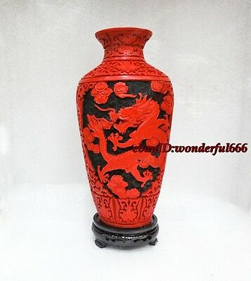 Vases Original Chinese Classical Carved flower Cinnabar Lacquer vase 10inch