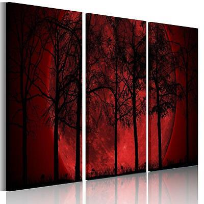 3pcs Large Moon Red Grove Canvas Print Wall Art Painting Picture NO frame