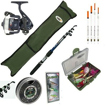 Complete Starter Fishing Set 6Ft / 8Ft Rod And Reel With Travel Bag Tackle Box