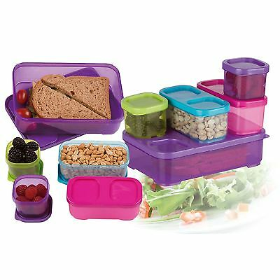 10pc Plastic Food Storage Box Containers With Multi Colour Lids Stacking