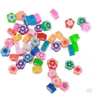 5x 50pcs Assorted Polymer Clay Loose Spacer Flower Beads For DIY Jewelry Making