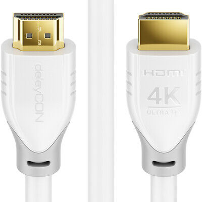 1m HDMI Kabel weiß 2.0 / 1.4 Ethernet 4K UHD FULL HD 3D TV Beamer deleyCON