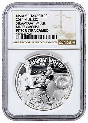 2014 Niue Silver Disney Classics Mickey Mouse Steamboat Willie NGC PF70 SKU31942